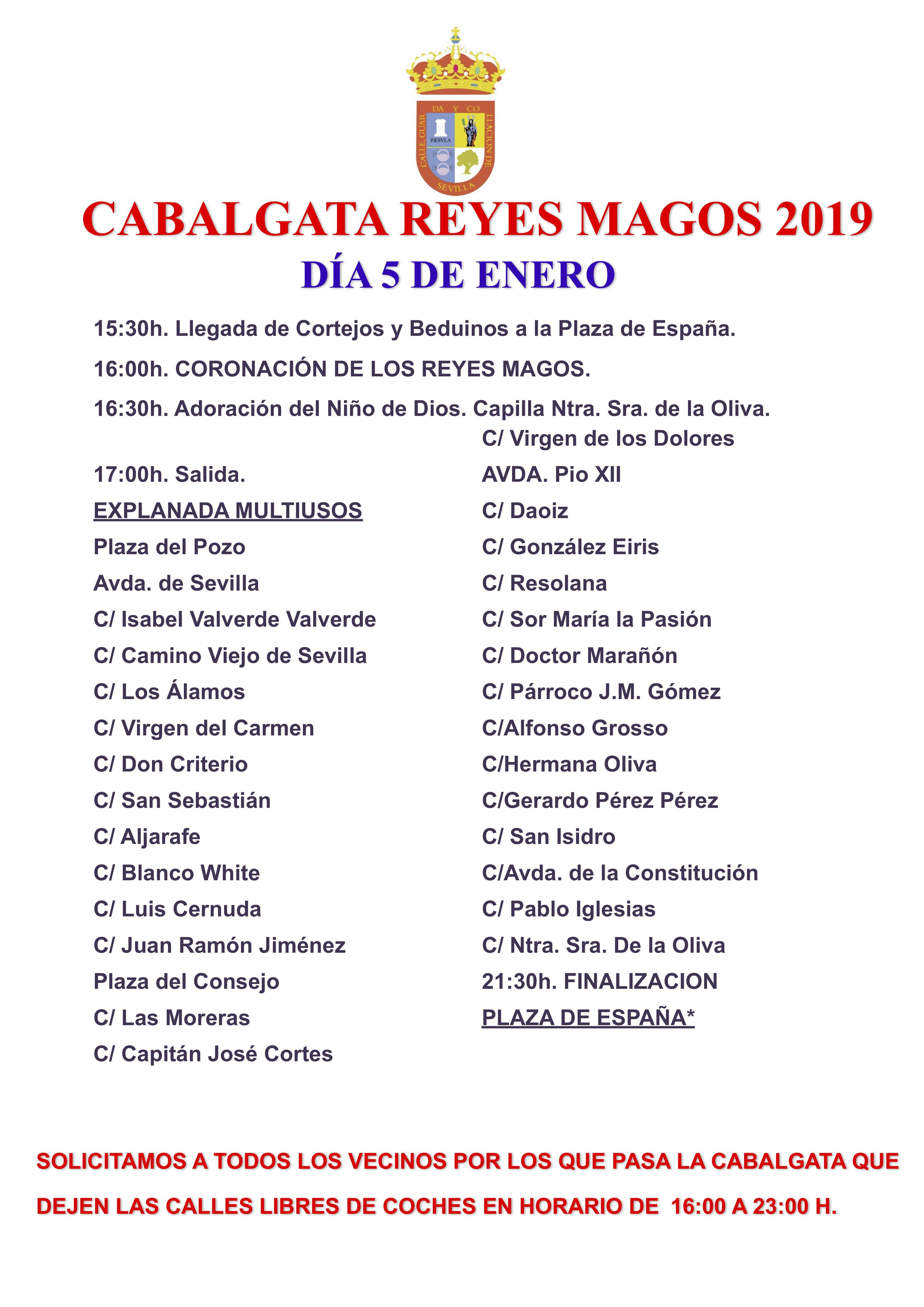 Recorrido Cabalgata de Reyes Magos 2019