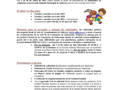 ESCUELA INFANTIL MUNICIPAL – Convocatoria curso 2021/2022